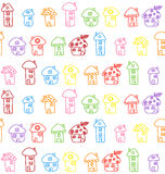 Hand gezeichnete Häuser. Nahtloses Muster. Kindisch Stockfotografie