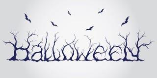 Hand gezeichnete Halloween-Beschriftung Stock Abbildung