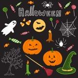 Hand gezeichnete Halloween-Themakarikaturgestaltungselemente Lizenzfreie Stockfotos