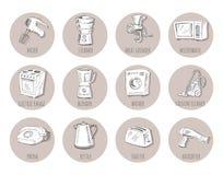 Hand gezeichnete Haushaltsgeräte Lizenzfreie Stockfotos