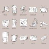 Hand gezeichnete Haushaltsgeräte Stockfotografie