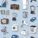 Hand gezeichnete Haushaltsgeräte nahtlos Stockbild