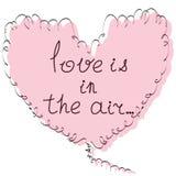 Hand gezeichnete Herz- und Handbeschriftungsphrase Liebe ist- in der Luft V Stockbilder