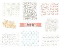 Hand gezeichnete Hippie-Beschaffenheiten gemacht mit Tinte Retro- Muster für Poster, Flieger und Fahnen-Designe Vektor bürstet De Stockfotografie