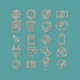 Hand gezeichnete Ikonen Konzeptgeschäftsnetz-Medien seo Stockbilder