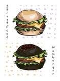 Hand gezeichnete Illustration des Hamburgers Lizenzfreies Stockbild