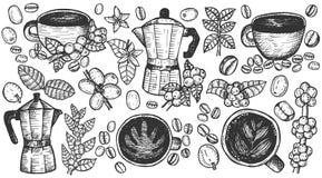 Hand gezeichnete Illustration des Kaffees Lizenzfreie Stockfotografie