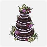 Hand gezeichnete Illustration des Kuchens Lizenzfreie Stockfotos