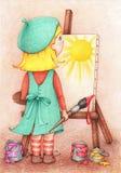Hand gezeichnete Illustration des Mädchenkünstlers steht vor einem Gestell und zeichnet Sonne auf Segeltuch Stockbild
