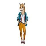 Hand gezeichnete Illustration des Pferdehippies Lizenzfreie Stockfotos