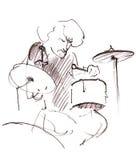 Hand gezeichnete Illustration eines emotionalen Schlagzeugers lizenzfreies stockbild