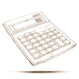 Hand gezeichnete Illustration eines Taschenrechners Stockfoto