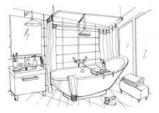 Hand gezeichnete Innenarchitektur des modernen Badezimmers Stethoskop lokalisiert über Weiß lizenzfreie abbildung