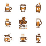Hand gezeichnete Kaffeesatzsammlung Lizenzfreie Stockfotografie