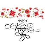 Hand gezeichnete Kalligraphie, die glücklichen Valentine Day beschriftet Farbgeschenkbox, -bögen und -bänder Auch im corel abgeho stock abbildung