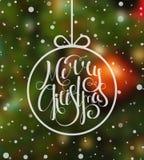 Hand gezeichnete kalligraphische Aufschrift frohe Weihnachten Stockfoto