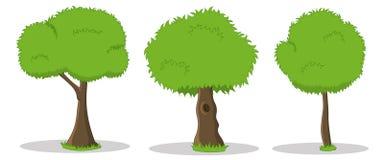 Hand gezeichnete Karikaturillustrationen von grünen Bäumen Stockbild