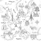Hand gezeichnete Karte von Europa lizenzfreie abbildung