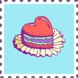 Hand gezeichnete Karten-Einladungsabwehr des kleinen Kuchens die Datumshochzeit Stockbild