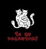 Hand gezeichnete Katzen in der Liebe Stockfoto