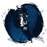 Hand gezeichnete koi Fische Japanisches Karpfen Federzeichnung mit Bürstenanschlag Stockbild