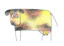 Hand gezeichnete Kuh auf einem weißen Hintergrund lizenzfreie stockbilder