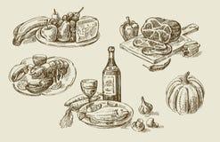 Hand gezeichnete Lebensmittelskizze Lizenzfreie Stockbilder
