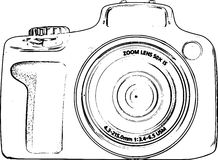 Hand gezeichnete Linie Art Camera Sketch /eps Lizenzfreie Stockfotografie