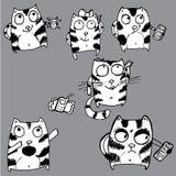 Hand gezeichnete lustige Katzen Stockfotografie