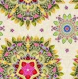 Hand gezeichnete Mandala, Blumenmuster-Element Stockfotos