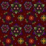 Hand gezeichnete Mandala nahtloses Muster von Blumen Stockfoto