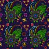 Hand gezeichnete Mandala nahtloses Muster von Blumen Stockfotos