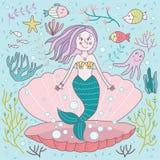 Hand gezeichnete Meerjungfrau Clam Vector Illustration Doodle Drawing Lizenzfreie Stockbilder