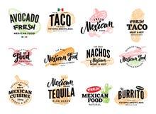Hand gezeichnete mexikanische Lebensmittel-Logos lizenzfreie abbildung