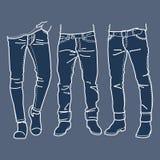 Hand gezeichnete Modekollektion Jeans der Männer Auch im corel abgehobenen Betrag Stockfotos