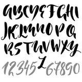 Hand gezeichnete moderne trocknen Bürstenbeschriftung Schmutzartalphabet Handgeschriebener Guss Auch im corel abgehobenen Betrag Stockfotos
