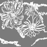 Hand gezeichnete nahtlose Chrysanthemenblumenmustermalerei Botanische Illustration der Tinte auf blauem Hintergrund Postkarte, Ta Stockfotografie