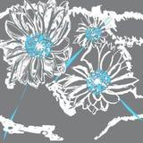 Hand gezeichnete nahtlose Chrysanthemenblumenmustermalerei Botanische Illustration der Tinte auf blauem Hintergrund Postkarte, Ta Stockbilder