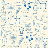 Hand gezeichnete nahtlose Wissenschafts-Ikonen lizenzfreie abbildung