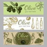 Hand gezeichnete Olive Oil Banner Set Stockfotografie