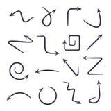 Hand gezeichnete Pfeile Gezeichnete Pfeile des Vektors Hand stellten lokalisiert auf Wei? ein stock abbildung