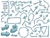 Hand gezeichnete Pfeile Gekritzel-Pfeile eingestellt Auch im corel abgehobenen Betrag stock abbildung