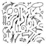 Hand gezeichnete Pfeile lokalisiert auf weißem Hintergrundsatz Vektor Lizenzfreie Abbildung