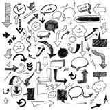Hand gezeichnete Pfeile und Blasen Stockbilder