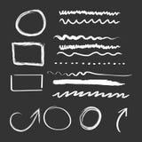 Hand gezeichnete Pfeile und Kreisikonensatz Sammlung Bleistift ske Stockfotografie