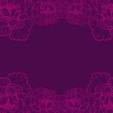 Hand gezeichnete Pfingstrosenblumen auf dunklem Hintergrund Stockbilder