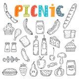 Hand gezeichnete Picknickillustration Sammlung verschiedene Skizzen f Stockbild