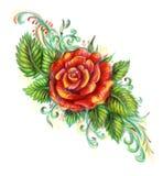 Hand gezeichnete Rotrose auf weißem Hintergrund Stockbilder