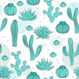 Hand gezeichnete saftige Verzierung Auch im corel abgehobenen Betrag Nahtloses Muster mit Kaktus Lizenzfreies Stockbild