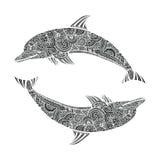 Hand gezeichnete schöne Gekritzel der Gekritzeldelphinzenverwicklungs-Art Illustration von Seetieren Lizenzfreie Stockbilder